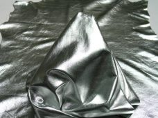 Metallic Finish Silver | Italian Lambskin Leather Hides | Fashion Leather