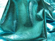 Metallic Finish Imprinted Turquoise | Italian Finished Leather Hides